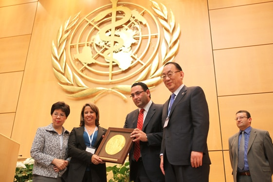 WHO General Assembly 64th Session presents the Dr LEE Jong-wook Memorial Prize for Public Health to Dr. Yamileth Angulo, Director of ICP.